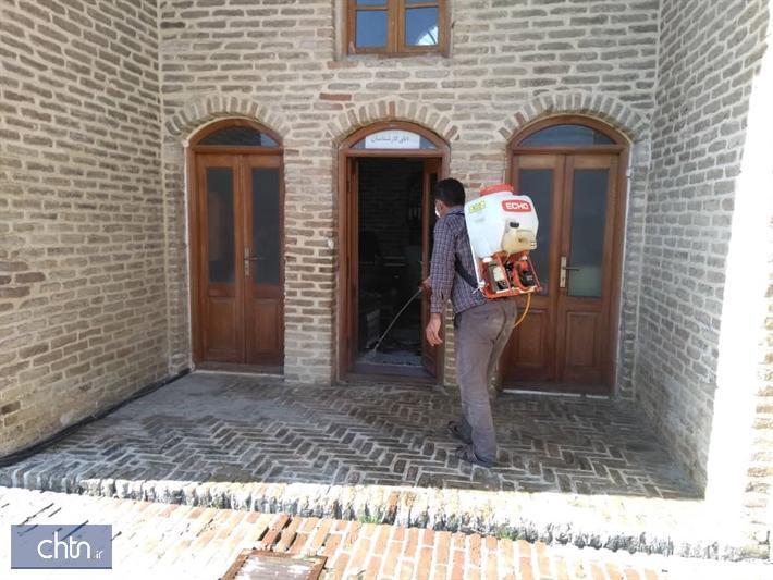 ضدعفونی محوطه و فضاهای بازدید پایگاه ملی میراث فرهنگی فرح آباد