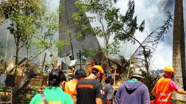 (ویدئو) سقوط هواپیمای نظامی فیلیپین